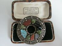VINTAGE SIGNED MIRACLE SCOTTISH CELTIC SHIELD POLISHED AGATE BROOCH KILT PIN