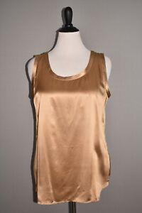 LAFAYETTE 148 NEW YORK NEW $328 Perla Reversible Silk Blouse in Camel Large