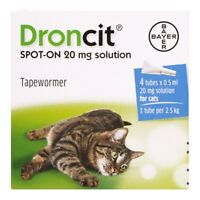 4 Pack Droncit Spot On Cat Wormer | 4 Tubes Tapeworm Worming Treatment for Cats