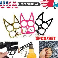 USA STOCK 3PCS Cat Shape Women Key Chain Keyring Emergency Metal Tool