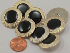 "8 Large Pale Gold Tone Metal Buttons Shiny Black Enamel Center 1"" 25mm # 6864"