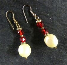Red Rhinestone Pearl Piercing Pierced Earrings Costume Fashion Vintage