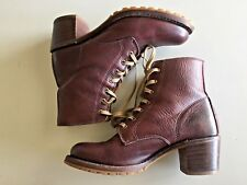 FRYE Women's Sabrina 6G Brown Leather Lace-Up Combat Boots SIZE 9