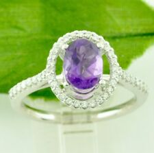 1.36 ct 14k Solid White Gold Oval Shape Natural Amethyst & Diamond Ring February