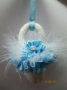 Pram Charm Handmade Knitted Dummy Boy or Girl - White with All Blue lace