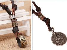 Herren Männer Surfer Style  Halskette Leder Kette Ring Münze Anhänger Neu