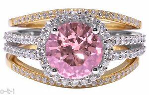 14k Gold Finish Pink Sapphire Round Wedding Engagement Silver Three Ring Set