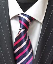 Tie Neck tie with Handkerchief Dark Blue & Pink Stripe