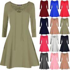 V-Neck Stretch Dresses Skater Dresses