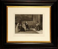 """Antique Engraving """"The Letter of Introduction"""" 1880s Photogravure Artwork Gebbie"""