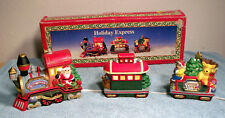 """Electric Christmas Holiday Express Lighted Train Engine & 2 Cars 15"""" x 5"""" x 2"""""""