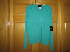 Misses' Size XL Lagoon Green Ribbed Button-Front Cardigan - Sag Harbor NWT!