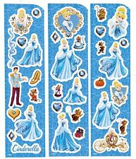 DISNEY PRINCESS 3 Sheets Scrapbook Stickers CINDERELLA Jacques GUS