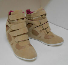 """Skintone 3"""" High Wedge Heel Round Toe Ankle Boots Front Strap Size 10"""