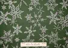 Quilting Treasure Loralie Very Fairy Christmas Snowflake Green Cotton Fabric BTY