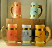 Vintage Siesta Ware Tiki Mug Set Of 5, Mid-Century Modern Bar Luau Wood Handles