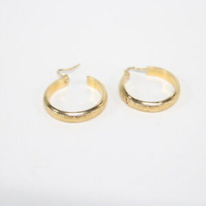18ct Gold Hoop Earrings with Art Deco Design Details #565