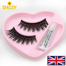 1 PAIR FALSE EYELASHES LONG THICK FALSE EYELASHES FAKE LASHES MAKEUP AND GLUE