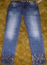 WOMEN'S MISS ME ANKLE SKINNY JEANS SIZE 29 SEQUIN DESIGN AROUND ANKLE