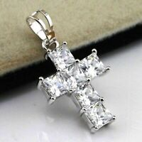 3.00 Ct Diamond Engagement Cross Pendant with 14K White Gold Women's Men's