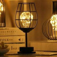 Vintage Iron Art Lamp Wine Glass Shape Bedroom Night Light Lamp Without Battery