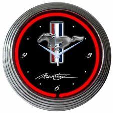 "Ford Mustang Pony Logo Orange Neon Hanging Black Wall Clock 15"" Diameter 8MUST2"