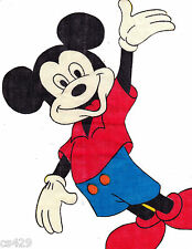 """11"""" DISNEY MICKEY MOUSE VINTAGE WAVING  CHARACTER WALL SAFE FABRIC DECAL CUT OUT"""