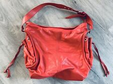 ABRO - MADE IN ITALY - GENUINE RED LEATHER - MADE IN ITALY - HANDBAG BAG PURSE
