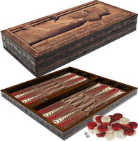 """BACKGAMMON SET WOODEN BOARD GAME """"ANCIENT I"""" DESIGN 20""""DOUBLING DICE"""