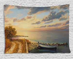 Art Tapestry Romantic Sunrise by Sea Print Wall Hanging Decor 80Wx60L Inches