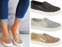 Ladies Womens Flat Slip On Glitter Summer Pumps Skate Fashion Trainers Shoes Siz