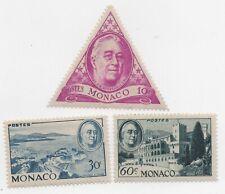 1946 Monaco  In Memory of Franklin Roosevelt MH  Sc 198-200 Odd Shape