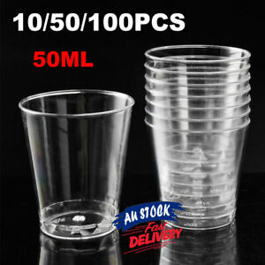 PK10/50/100 Hard Clear 50ml Plastic Shot Cups Party Shooter Disposable Glass PS