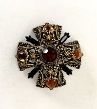 Vintage Selini Signed Maltese Topaz Statement Brooch Pin