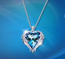 Herzkette Herz Anhänger Collier Silber mit SWAROVSKI® Kristallen 18K Weißgold pl