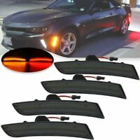 For 2016-2020 Chevy Camaro Front & Rear LED Side Bumper Marker Smoked Lens LED