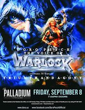 """WARLOCK - DORO PESCH """"TRIUMPH AND AGONY"""" 2017 WORCESTER, MA CONCERT TOUR POSTER"""