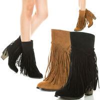 Womens Fashion Cowboy Fringe Tassel Western Boot Shoe Mid Calf Stack Chunky Heel