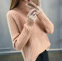Womens Winter Warm Tops Knited Sweater Turtleneck Pullover Loose Blouse Sweaters