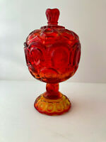 Vintage Lidded Glass Apothecary Footed Candy Dish