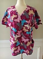SB SCRUBS Scrub Top Patterned Pink Butterflies Floral 2 Pockets Size 2X - EUC