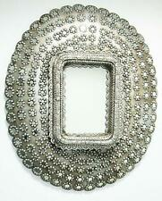 New Wooden Big Size Peacock Style Antique Finish Silver Wall Mirror Frame