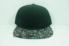 Blank Floral Brim Snapback  New Black Cap Adjustable