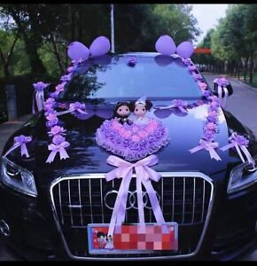 Wedding Car Decoration Flowers Romantic Style In Purple And Pink