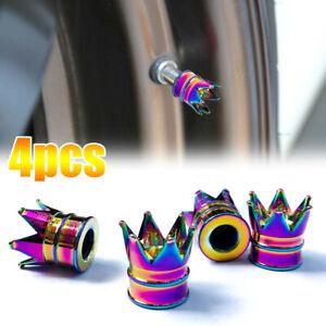 4x Neon Multi Color Crown Car Wheel Tire Valve Stem Cap Tyre Air Dust Cover SUV