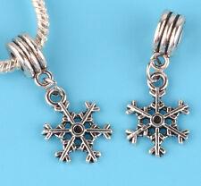 2pcs Tibetan silver snowflake Charm bead fit European Bracelet Pendant #B10