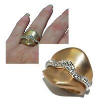 Bague jarretière originale de couleur or brossé cristal blanc T 52 bijou ring
