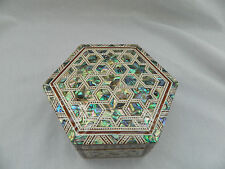 """Egyptian Mother of Pearl Paua Shell Star Inlaid Jewelry Box Gift 5.25""""X 2"""" #736"""