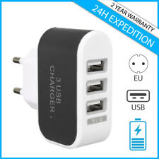 TRIPLE 3x USB PORT WALL CHARGER CHARGEUR PRISE ADAPTER PLUG IPHONE SAMSUNG BLACK