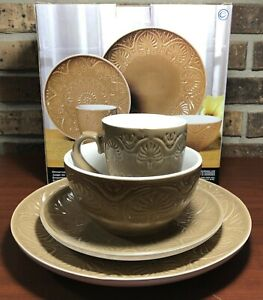 Pfaltzgraff Dolce Latte 4 Piece Place Setting - Brown Rustic Stoneware MSRP $75